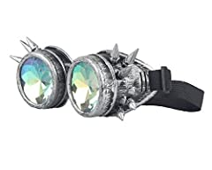 ZAIQUN Kaleidoscope Glasses Steampunk Goggles Rivet Steampunk Windproof Mirror Vintage Gothic Rave Rainbow Crystal Lenses Glasses #4