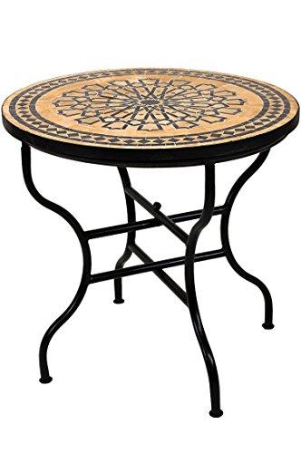 ORIGINAL Marokkanischer Mosaiktisch Gartentisch ø 80cm Groß rund klappbar | Runder klappbarer Mosaik Esstisch Mediterran | als Klapptisch für Balkon oder Garten | Alcazar Beige Dunkelbraun 80cm