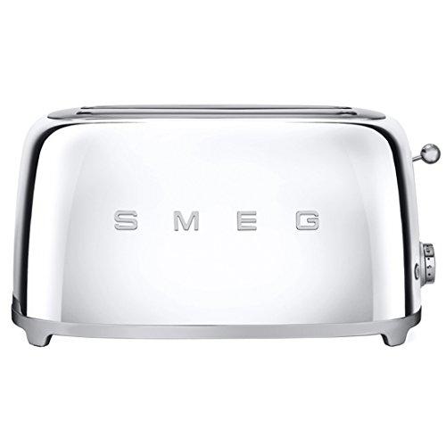 Smeg Toaster im Retro-Stil der 50er-Jahre, polierter Stahl, extra breit, Bagel (Chrom)