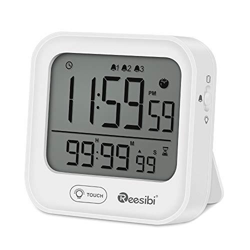 Reesibi Digitaler Wecker mit Timer, Stoppuhr, 3 Alarme, Vibration, Hintergrundbeleuchtung, Magnethalterung, Wecker für Zuhause, Küche, Sportklasse, Wecker, Weiß