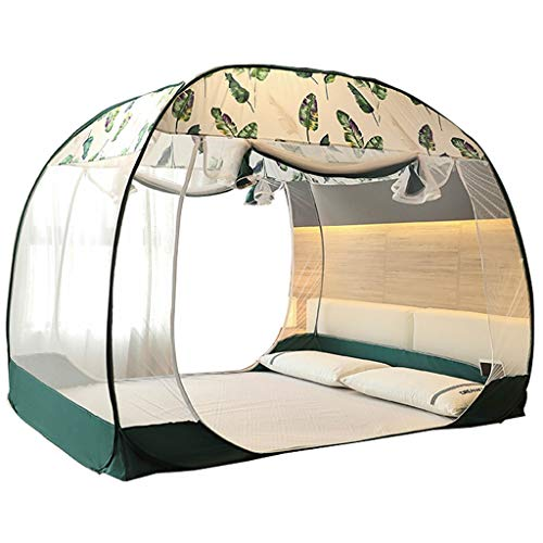 Xinxinchaoshi Double Door Tent Bedspread Foldable Full Bottom for Children and Adults (green Grey) (Color : Gray, Size : 6 foot bed)