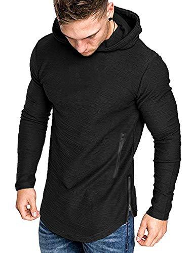 COOFANDY Herren Pullover mit Kappuzen Langarm Basic Hoodie Causal Sweatshirts Gym Sport Langarmshirts für Männer Schwarz L