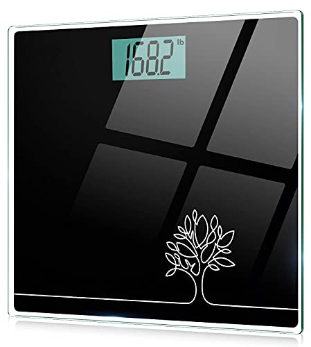 Cocoda Personenwaage, Waage Personen mit Step-On Technologie, 6mm Sicherheitsglas & LCD-Display, Hochpräzise Digital Körperwaage - kg/lb/st, Max 150kg, Automatisches EIN- und Ausschalten, Schwarz