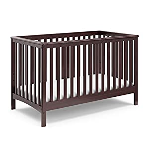Storkcraft Hillcrest Fixed Side Convertible Crib, Espresso, Easily Converts to Toddler Bed Day Bed or Full Bed, Adjustable Height Mattress, Some Assembly Required (Mattress Not Included)