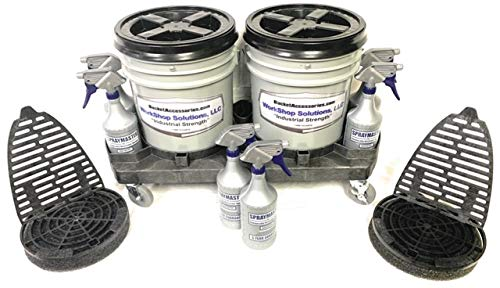 Workshop Solutions, LLC Auto Detailing/Cleaning Deluxe Double Bucket Wash Method Pro-Kit 5 Gallon Bucket Dolly with Gamma Seal Lids, SprayMaster Bottles and Dirt Dropper with Grit Grabber Mat