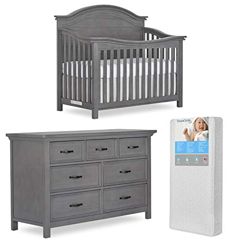 Evolur Belmar Curve 5 in 1 Convertible Crib & Double Dresser with Free 260 Coil Crib & Toddler Mattress (883/885-RG)