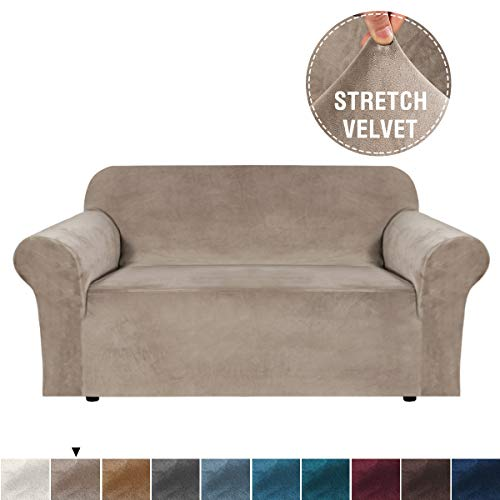 Spandex Loveseats Furniture Protector Stretch Up to 54 Luxurious Couch Slip Cover with Fasteners Dark Gray Gorilla Grip Original Velvet Fitted 1 Piece Loveseat Slipcover Soft Velvety Covers