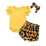 Geagodelia - Conjunto de ropa para bebé y niña, algodón con volantes, de manga corta y pantalón corto floral amarillo 0-6 meses