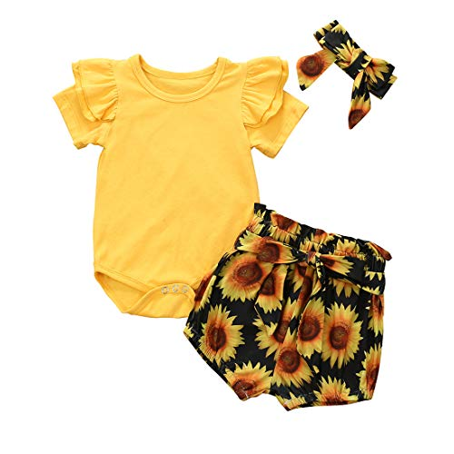 Geagodelia - Conjunto de ropa para bebé y niña, algodón con volantes, de manga corta y pantalón corto floral amarillo 18-24 meses