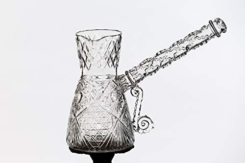 Türkische Kaffeekanne Cezve Turka Ibrik (aktiv) aus Bergquarz / Kristall Valume 350 - 400 ml für Gas- oder Elektroherde für Orientalisch Osttürkisch Griechisch authentisch dickes Kaffeegetränk