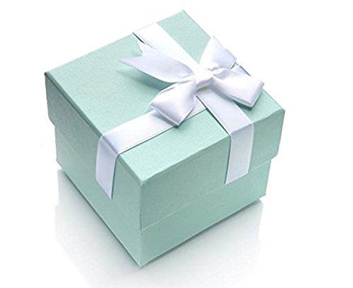 silvity Uhr oder Armreif Geschenk-Schachtel wunderschöne Geschenkbox eine tolle Geschenkidee 8,5 x 8,5 x 7,0 cm 3Box Farbe: Türkis mit weißer Schleife