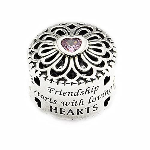 LISHOU DIY 925 Plata Esterlina Amor Amistad Rosa Corazón Piedra Cristal Accesorio Charm Beads Fit Pandora Pulsera Collar para Mujer Joyería Que Hace Regalo