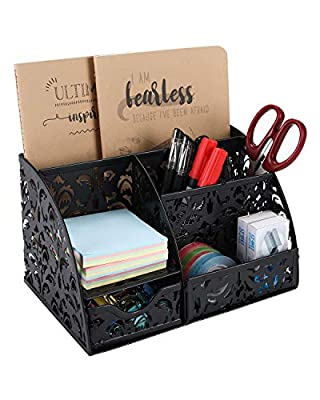EasyPAG Desk Organizer Carved Hollow Gear Pattern Desk Accessories Caddy with Drawer