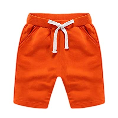 DQCUTE Boys Girls Cotton Shorts Summer Knee Length Solid Sport Jogger Pants Drawstring Sweatpants for Kids Toddler 1-8 Years Orange 2T