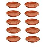 10 Platos de plástico para macetas Mediterránea. Bandejas, platillos, bajoplatos Redondos para tiestos de Interior, Exterior, jardín, terraza o balcón (Marrón) (10, 24_cm)