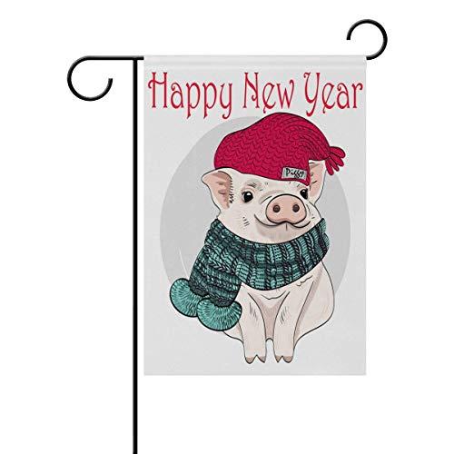 AEMAPE Cerdo Feliz año Nuevo Todas Las Estaciones Banderas de jardín Banderas Decorativas de jardín al Aire Libre Banderas de Patio de Vacaciones y de Temporada