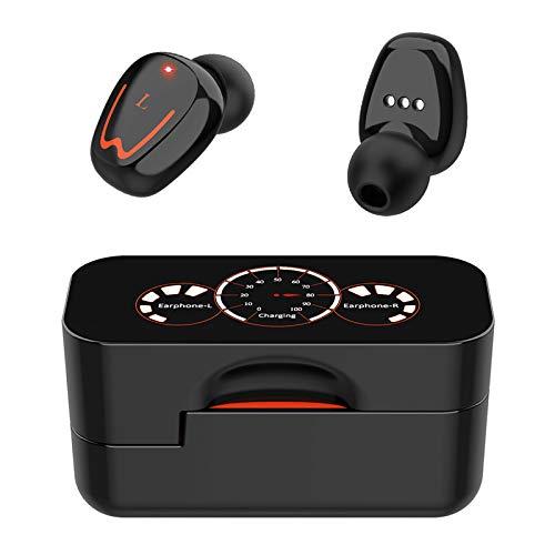 SUN JUNWEI Auriculares Bluetooth 5.0 in Ear Auriculares Deportivos con Micrófono Auriculares Inalámbricos Impermeables CVC8.0 Auriculares con Pantalla LED Caja De Carga Y Micrófono