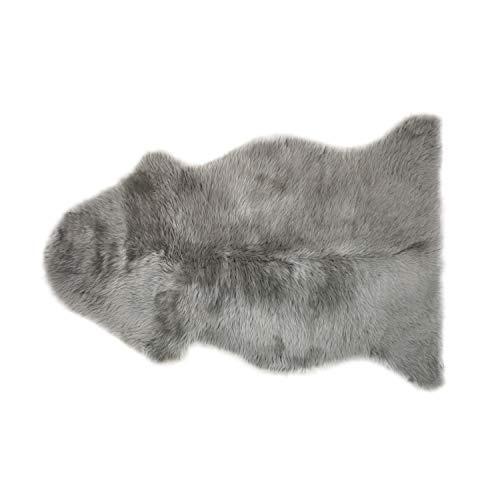 Neuseeländisches Schaffell echt • Lammfell Teppich • Fellteppich Grau • Wohnzimmer Deko ca. 60x90 cm bis 60x100 cm • 100% Wolle