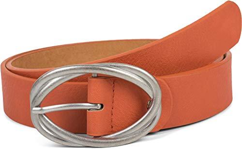 styleBREAKER Damen Gürtel Unifarben mit ovaler verschlungener Doppelschnalle, kürzbar 03010099, Größe:95cm, Farbe:Orange-Silber