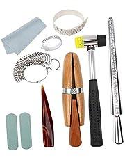 Almencla 11 Piezas de Herramientas de Fabricación de Joyas, Palillo de Medir, Anillo de Mandril, Medidor, Tamaño de Dedo, Kit