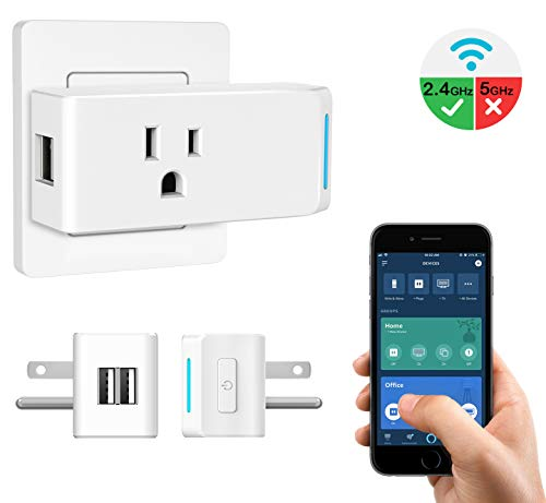 MoKo WiFi Smart Plug, Smart Plug Outlet with 2 USB Ports, Work with Alexa Echo,Google Home & IFTTT for Voice Control/Remote Control, Timer Function, 10A Only Supports 2.4GHz Network, No Hub, White