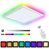 Albrillo 20W RGB LED Deckenleuchte Panel, 7 Lichtfarben & Warmweiß Dimmbar Deckenlampe, inkl. Aluminiumrahmen und 2.4GHZ Fernbedienung, Schlafzimmer Wohnzimmer Küche geeignet, IP20, Ø300mm