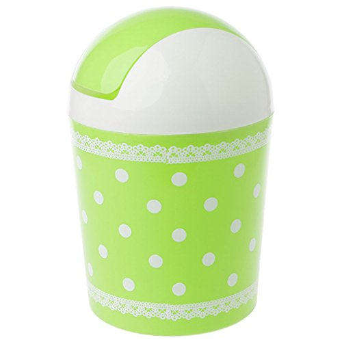 Hothap Mini Waste Bin Desktop Garbage Basket Home Desk Trash Can Roll Swing LidGN-GN