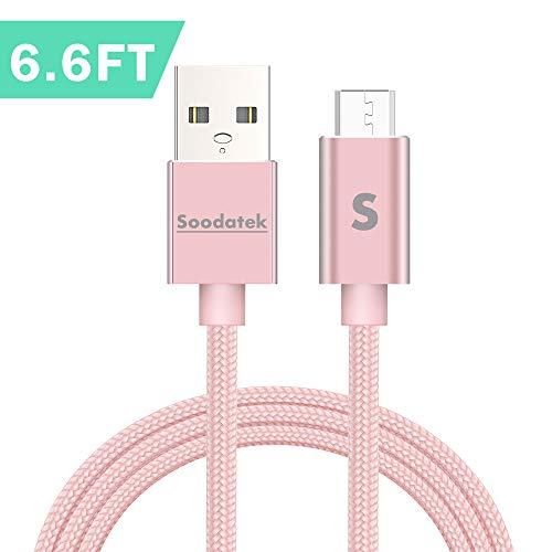 Soodatek Micro USB Kabel 2M, mit Nylon geflochtenes USB Micro Ladekabel geeignet für Android Smartphones, Samsung Galaxy S7/S7 Edge/S6/Note 5, Huawei, Sony, Nexus, Nokia, Kindle und mehr -Roségold