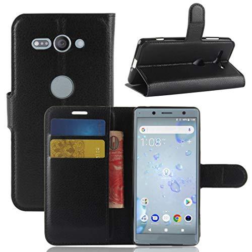 Moonbaby beschermhoes voor Sony Xperia XZ2 Compact, PU-leer, met Litschi-tekst, horizontaal, met portemonnee en standfunctie en kaarten (zwart), Rood