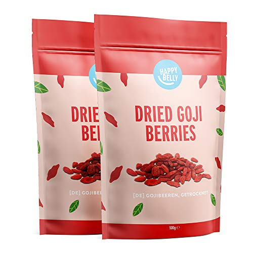 Marchio Amazon - Happy Belly Bacche di goji essiccate, 2 x 500g