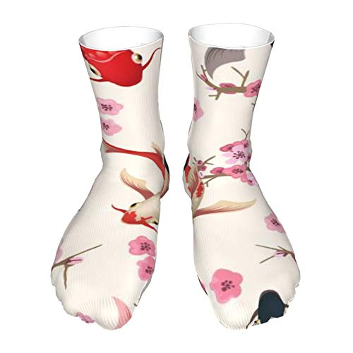 Men's Dress Socks Garden Koi Cotton Socks Classic Calf Socks Man's Gift