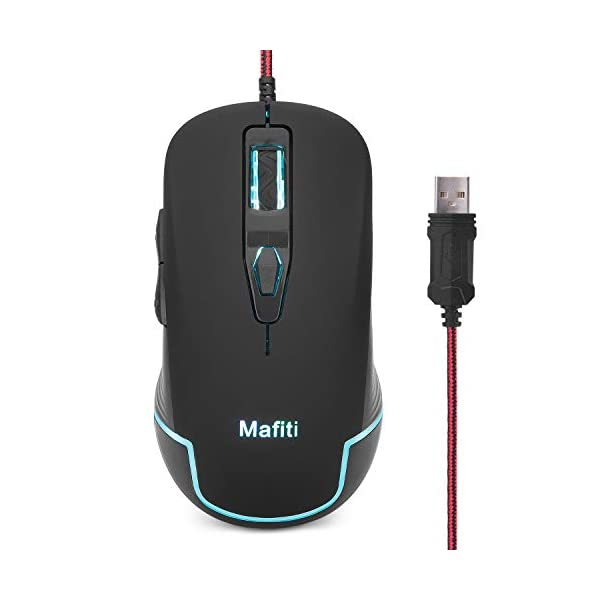 Mafiti Wired PC Mouse USB Backlit RGB Mice 3200DPI for Notebook Laptop Computer Desktop