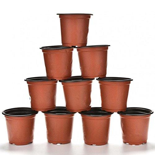 10 macetas de plástico redondas decorativas para guardería con agujero de drenaje, maceta para flores