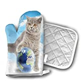 gong Cat Play Earth Kitchen Oven Mitts Oven Gloves for BBQ Cooking Set Baking Grilling Barbecue Microwave Machine