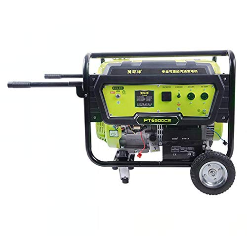 qiwangsheng Generador Electrico Portatil Generador para Camping Gasolina Hogar Multicombustible Pequeño-Tirador Manual De 5Kw + Arranque con Llave (Gasolina/Gas/Gas Natural)