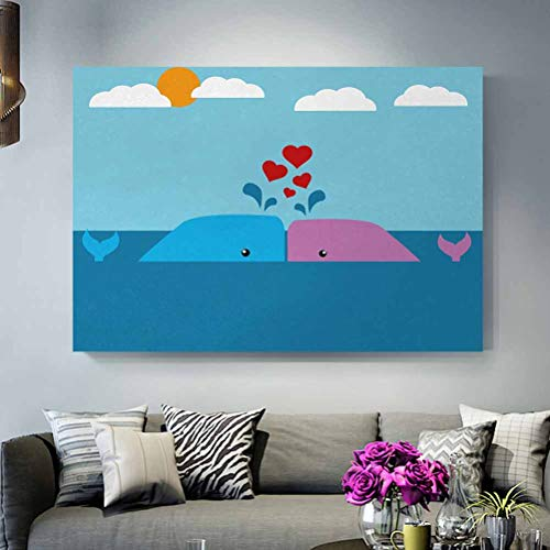 ScottDecor Metal Wall Art Outdoor Whale,Art of Romantic Love Valentines Whales in Ocean with Sun and Clouds Animal Fun,Blue and Pink, boy 4 Year Old Gift L12 x H18 Inch