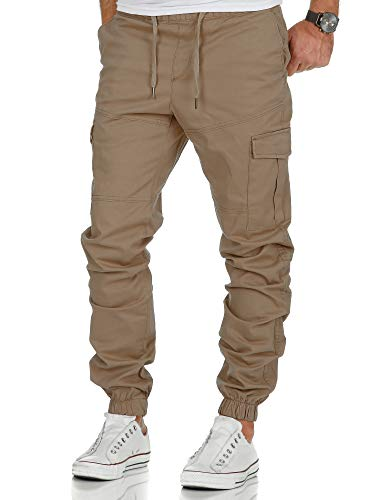 Amaci&Sons Herren Stretch Jogger Cargo Chino Jeans Hose 7006 Beige W32
