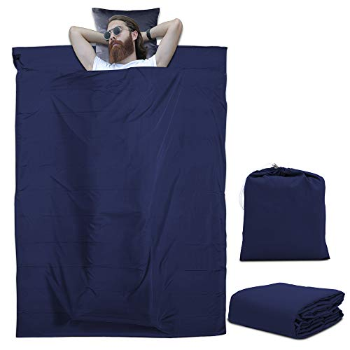 Intirilife Saco de Dormir de Poliéster 115 cm x 210 cm en Azul Oscuro - Sábana de Viaje Ligera y Bolsa de almacenaje refugios de montaña - Camping Vacaciones Albergue hostal