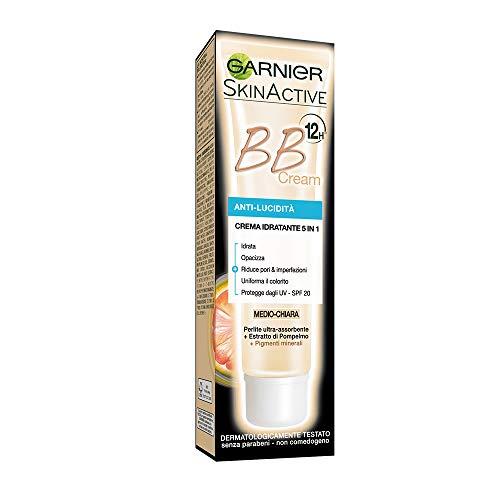 GARNIER BB Cream Anti Lucidità Crema Idratante Tutto in 1, Arricchita con Pigmenti Minerali e Perlite Assorbente, Medio-Scura, Confezione da 1, 50 ml