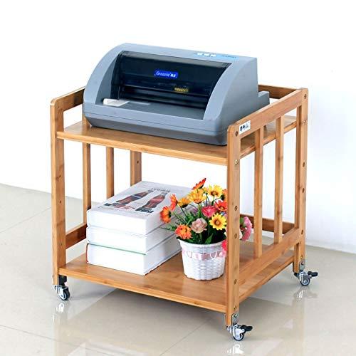 Soporte de Impresora 2 Capa base de la impresora con polea móvil de bambú Almacenamiento Hogar del sostenedor del estante de escritorio del archivo lateral, Requiere Ensamblaje Rack de Almacenamiento