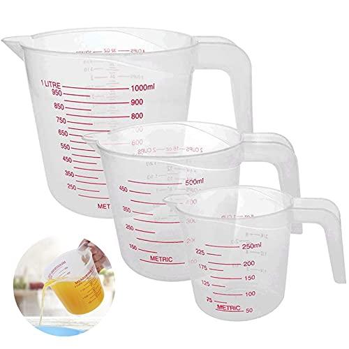 JoGoi - Jarra Medidora de Plástico Para Panadero 3 Unidades, Tamaño Grande, 4 Tazas (1 Litro), 2 Tazas (500 ml) y 1 Taza Pequeña (250 ml) – Apto Para Microondas – Transparente, Fácil de Leer