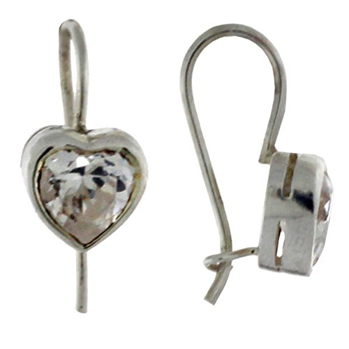 Sterling Silver and Heart Shape Cz Euro Wire Earring.