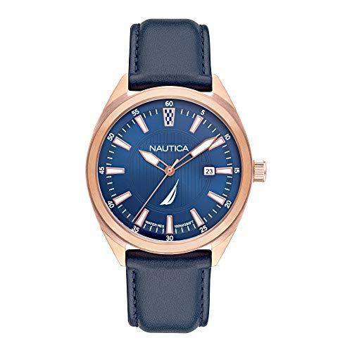 Nautica Men's Stainless Steel Quartz Leather Strap, Blue, 22 Casual Watch (Model: NAPBPS010)