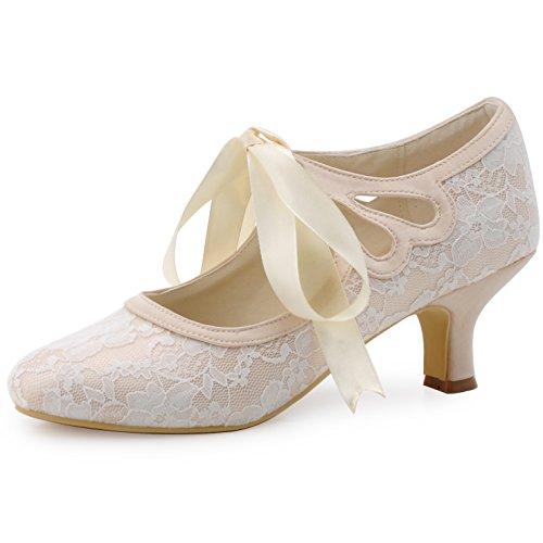 ElegantPark HC1521 Zapatos para Novia Tacon Bajo Mary Jane Zapatos Mujer Cintas Encaje Satén Zapatos de Fiesta Boda Champán EU 41