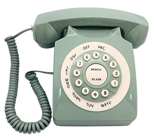 Gancon Teléfono de Escritorio del teléfono Fijo Pasado de Moda del Vintage para la decoración del hogar(Verde)