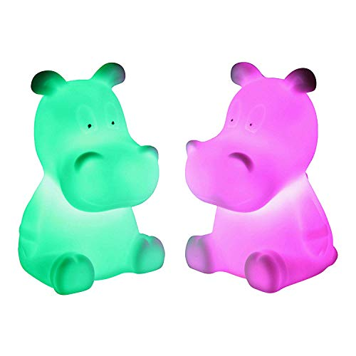 PK Green LED Nachttischlampe Kinderzimmer Batterie | Nachtlampe Kinder Baby | Sensorisches Spielzeug Kind Nilpferd, Höhe 9cm | Tischlampe Nachtlicht Stimmungslampe Schlafzimmer Farbwechsel RGB