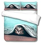 Duvet Cover Double For Girls and Boy Cat Reversible Pattern Printed Bedding Duvet 3 Pieces Cover with Zipper Closure Soft Microfiber Quilt Cover 200X200Cm