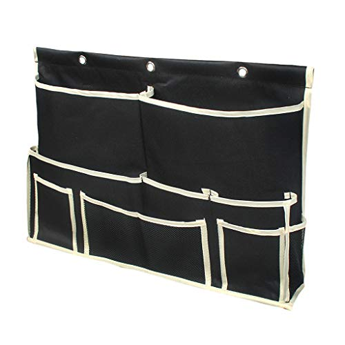 10 Pocket Bedside Caddy, Hanging Storage Organizer for Books, Phones, Tablets, Accessory and TV Remote, Best for Headboards, Bed Rails, Dorm Rooms, Bunk Beds, Bathrooms & Travel (Black)