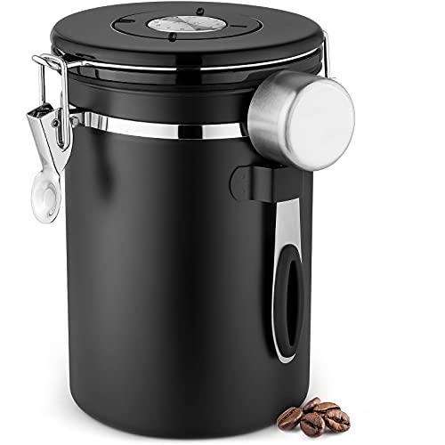 Tanque de café hermético, Recipiente de Almacenamiento de Granos de café de Acero Inoxidable con Cuchara, Tanque de Almacenamiento de Cocina (1800 ml),Black