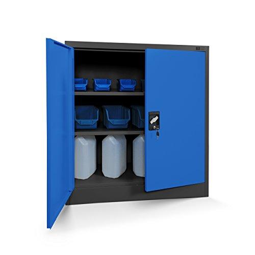Jan Nowak Kleiner Aktenschrank C001B Büroschrank mit Flügeltüren Metallschrank Lagerschrank Pulverbeschichtet Stahlblech Abschließbar 92,5 cm x 90 cm x 40 cm (H x B x T) (anthrazit/blau)